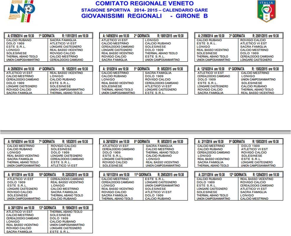 Calendario Giovanissimi Regionali.Giovanissimi Elite E Regionali I Calendari Della Nuova Stagione