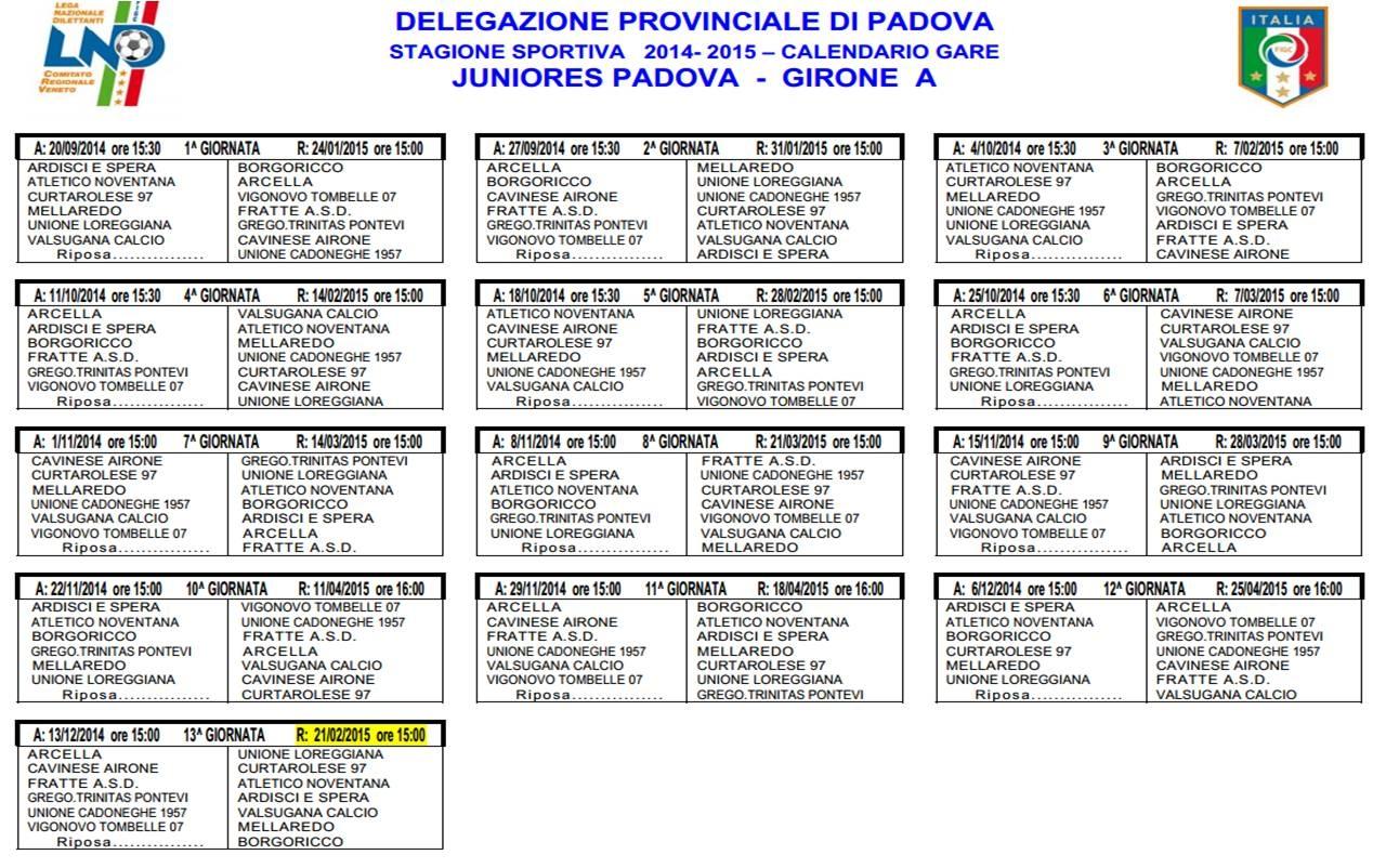 Calendario Calcio Padova.Juniores Provinciali Ecco I Calendari Di Padova E Del
