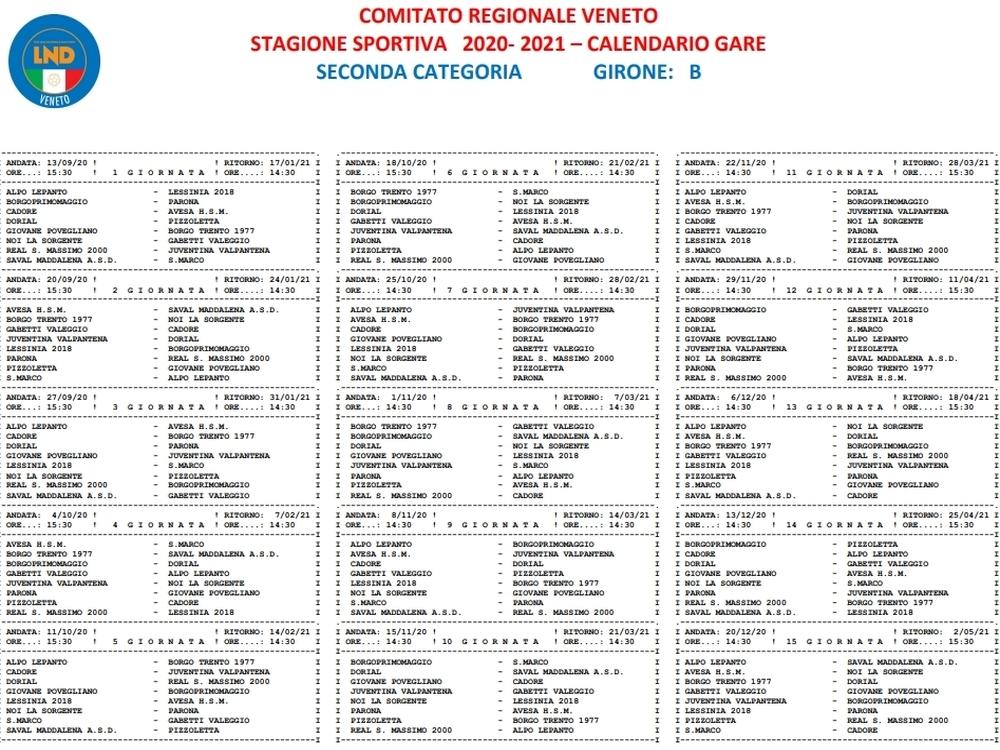 Calendario Seconda Categoria 2021 I calendari di campionato della Seconda categoria 2020/2021