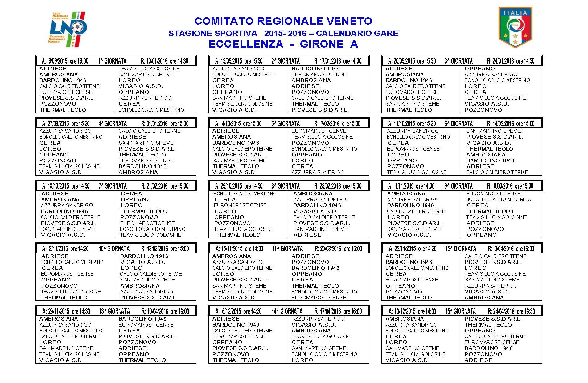 Calendario Prima Categoria Sardegna.Calendari Eccoli Tutti Dall Eccellenza Alla Prima Categoria