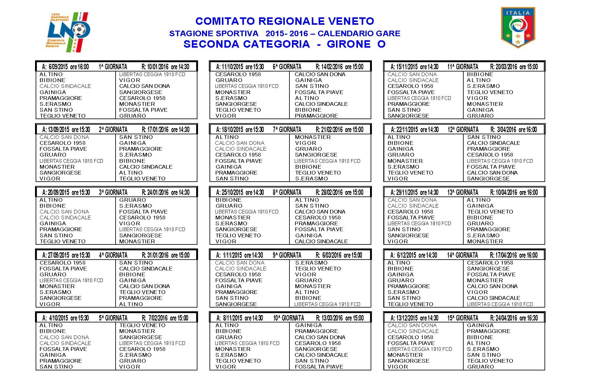 Calendario Seconda Categoria Veneto.Calendari Ecco Tutti Quelli Della Seconda Categoria