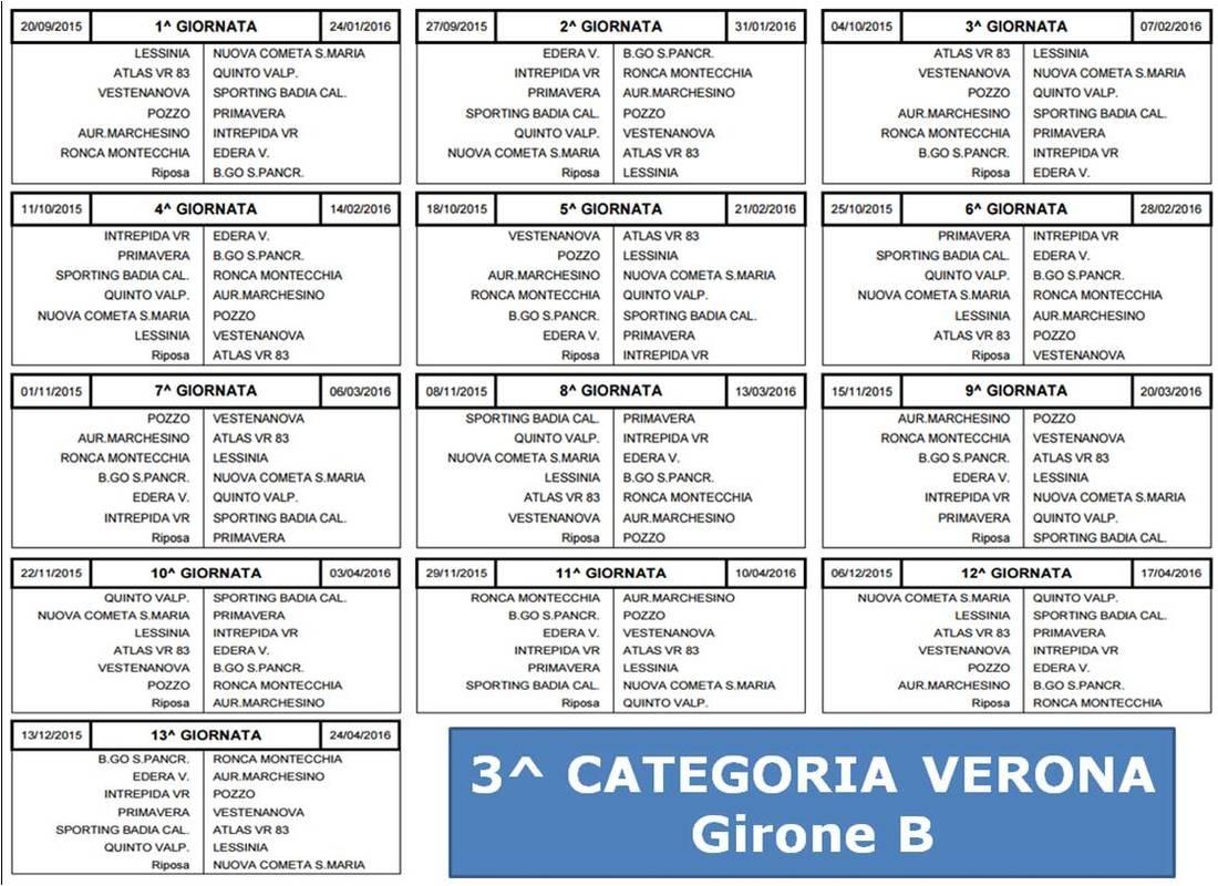 Calendario Terza Categoria.Terza Categoria Verona Ecco I Calendari Dei Tre Gironi Di