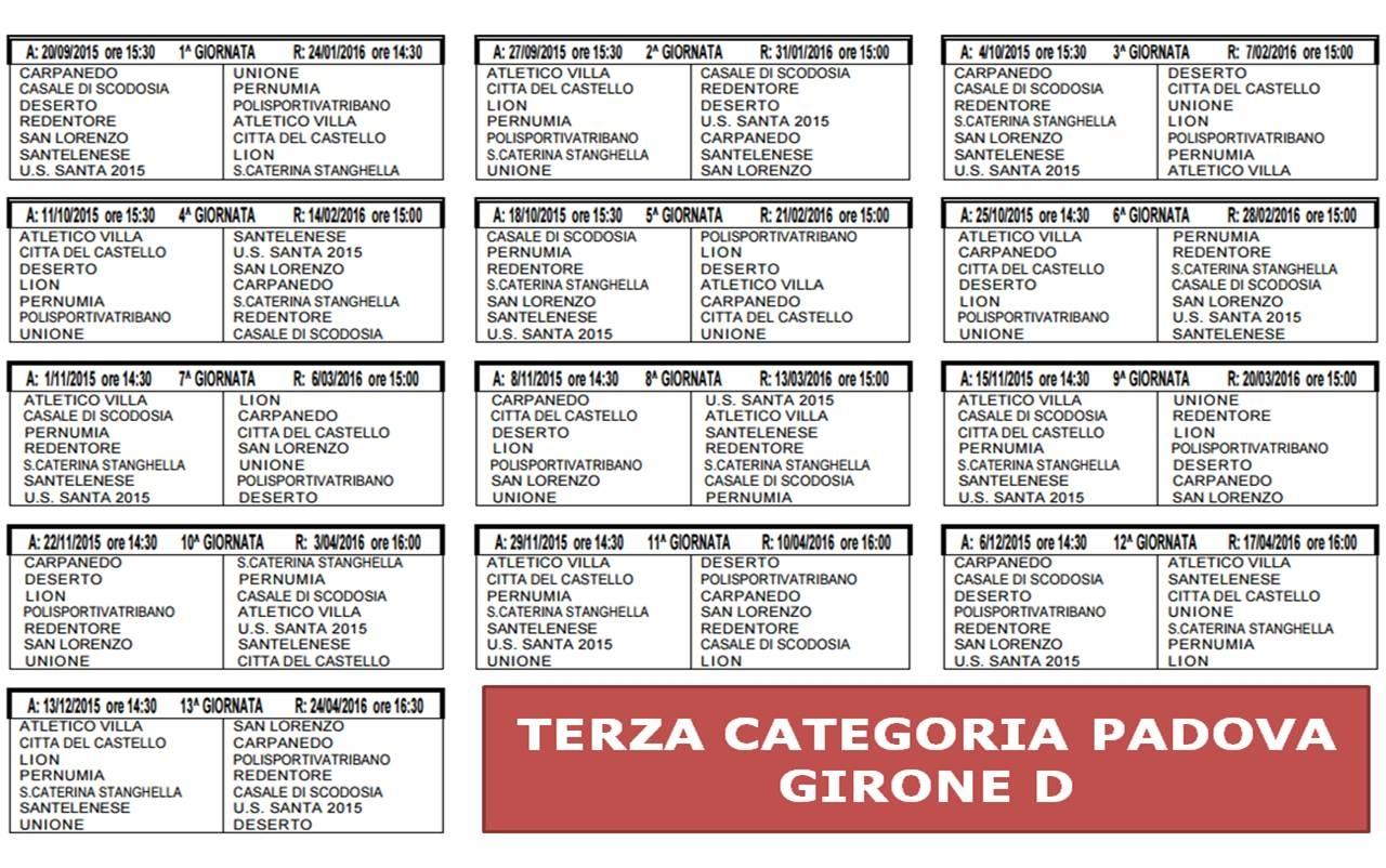 Calendario Terza Categoria.Terza Categoria Diramati I Calendari Di Padova E Vicenza