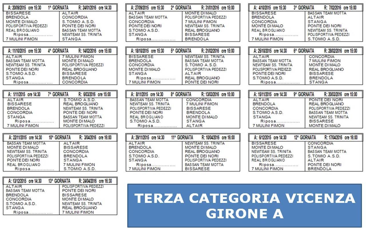 Calendario Vicenza.Terza Categoria Diramati I Calendari Di Padova E Vicenza