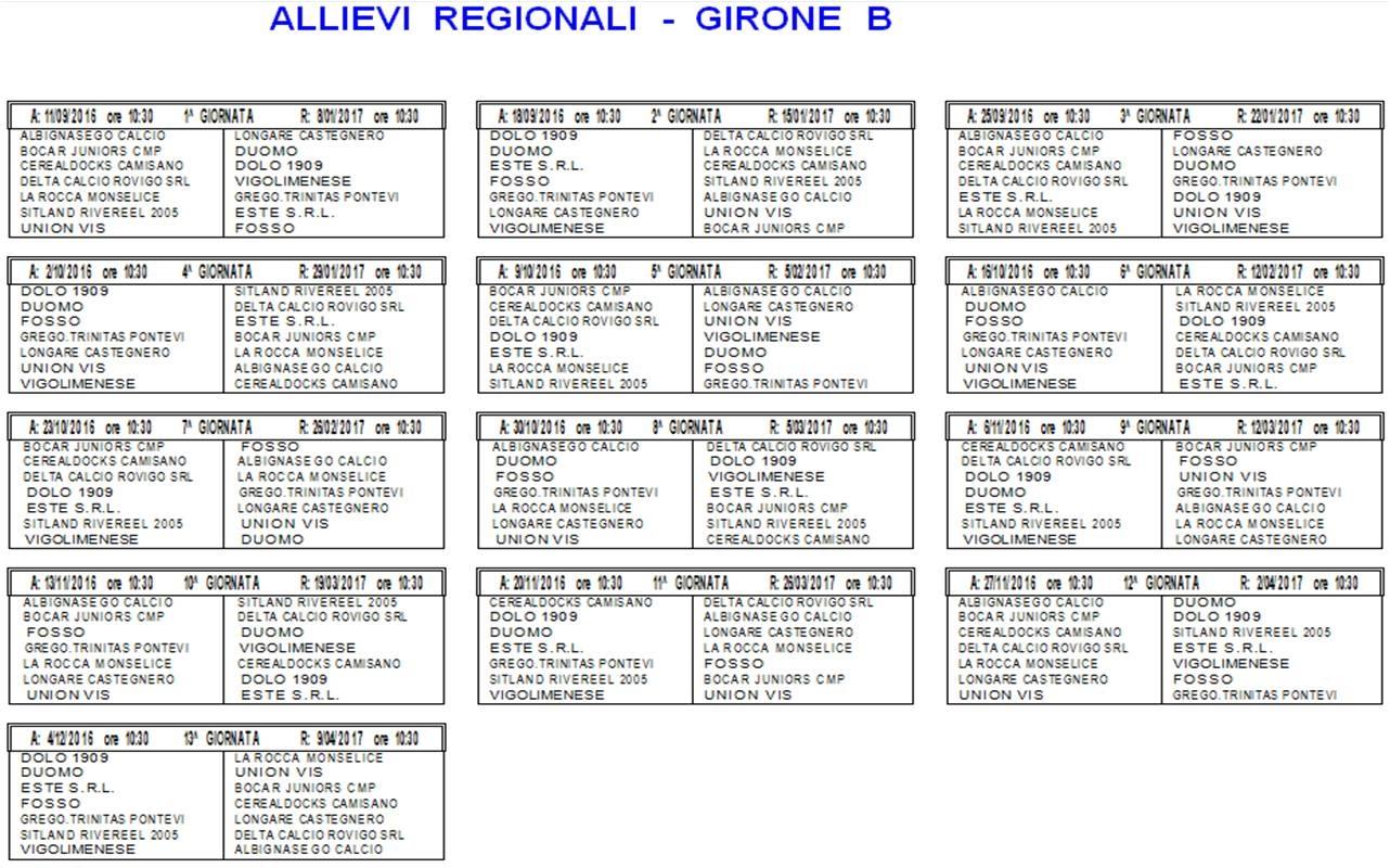 Calendario Allievi Lega Pro.Allievi I Calendari Delle Categorie Elite Regionali E Fascia B