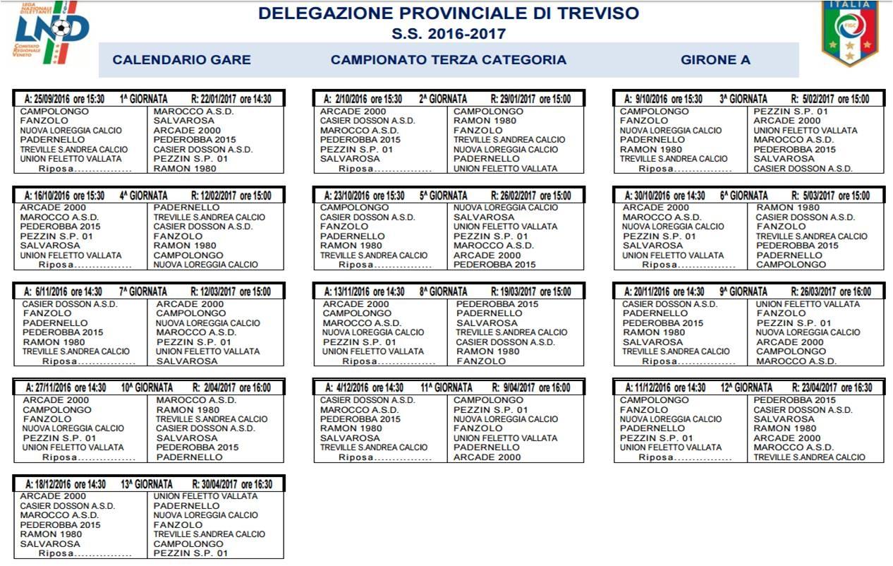 Calendario Terza Categoria.Terza Categoria Treviso Ecco I Calendari Del Campionato E