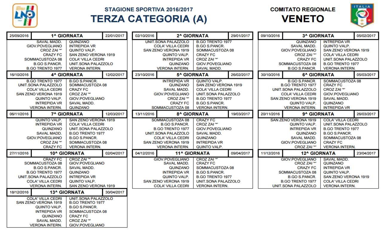 Calendario Terza Categoria.Terza Verona Ufficializzati I Calendari Di Campionato